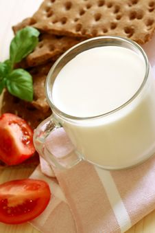 Glass Of Milk And Crackers, Healthy Breakfast Stock Photo