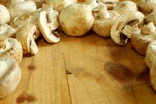 Free Fresh Mushroom On Wooden Royalty Free Stock Image - 19654376