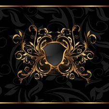 Free Golden Ornate Frame With Shield Royalty Free Stock Photos - 19654638