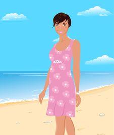 Free Beautiful Girl On Beach Stock Photography - 19654642