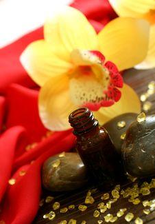 Bottle Of Essence Oil, Stones, Bath Salts And Flow Stock Image