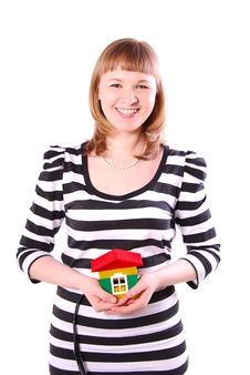 Free Young Woman With House S Model. Royalty Free Stock Image - 19655956