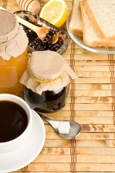 Coffee, Honey And Bread On Table Royalty Free Stock Image