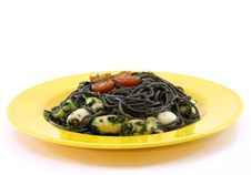 Free Yellow Plate With Black Pasta And Squid Stock Photo - 19657710