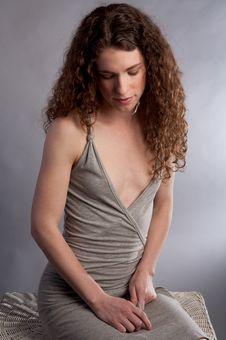 Free Demure Woman In Gray Dress Stock Image - 19658471