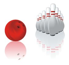 Bowling And Reflection Royalty Free Stock Image