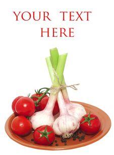 Tomato Cherry And Bundle Of Garlic Stock Photography