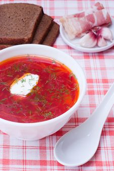Borscht, Traditional Russian Beetroot Soup. Royalty Free Stock Images
