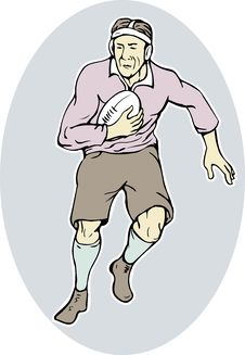 Free Rugby Player Running With Ball Royalty Free Stock Image - 19659876