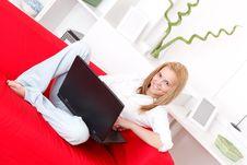 Free Using Laptop At Home Stock Image - 19660131