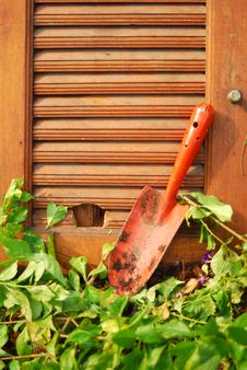 Free Garden Tools On Wooden Wall Stock Image - 19660341