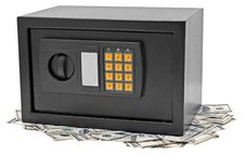 Free Metal Safe Is On Hundred Dollar Bill. Royalty Free Stock Photography - 19660407
