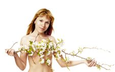 The Nude Woman With An Apple-tree Branch Royalty Free Stock Images
