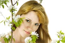 Free The Woman And An Apple-tree Stock Photos - 19661043