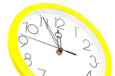 Free Yellow Wall Clock Royalty Free Stock Photo - 19661095