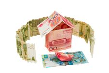 House And Boat On The River Of Money Royalty Free Stock Images