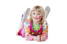 Free Young Happy Blond Disguised Girl On The Floor Stock Images - 19662854