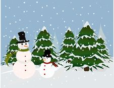 Free Christmas Card, Snowman Royalty Free Stock Photography - 19662957