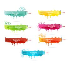 Free Grunge Colored Brush Set Stock Photography - 19663362