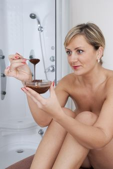Before Chocolate Massage In Spa Salon Stock Photo