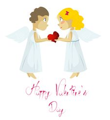 Free Male And Female Cupid Stock Photography - 19664112