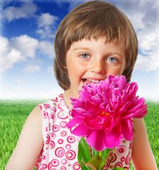 Free Little Girl With  Peony Flower Stock Photography - 19664822