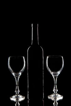 Free Red Wine - Bottle And Glasses Royalty Free Stock Image - 19665176