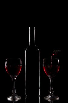 Red Wine - Bottle And Glasses Stock Photo
