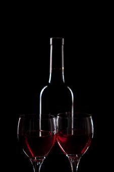 Free Red Wine - Bottle And Glasses Royalty Free Stock Image - 19665216