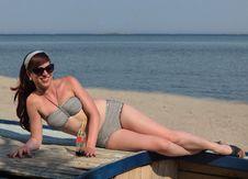 Retro Girl At The Beach Royalty Free Stock Photo