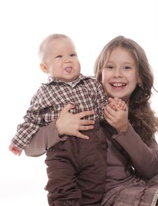 Sister And Brother Over White Royalty Free Stock Images