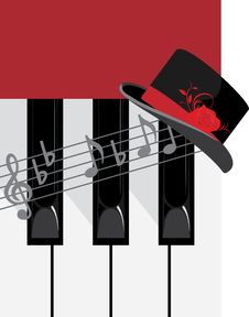 Free Piano Keys And Female Hat Stock Photo - 19667380