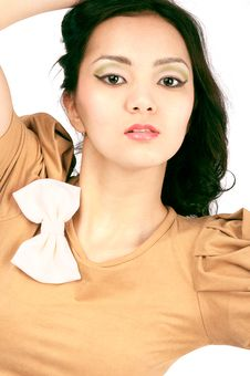 Asiatic Young Women Face,close-up, Isolated Royalty Free Stock Image