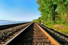 The Railroad Along The Bay, The USA Stock Image