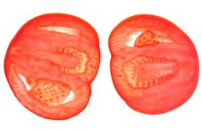 Two Slices Of Red Tomato Stock Photography