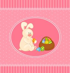 Easter Bunny With Colored Egg. Royalty Free Stock Photography