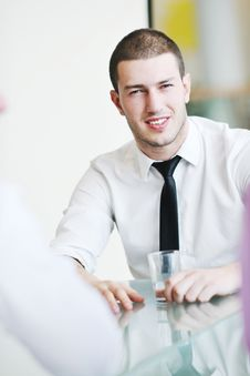 Free Young Business Man Alone In Conference Room Stock Image - 19670951