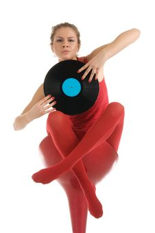 Free Young Woman With Vinyl Record Stock Images - 19671524