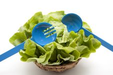 Free Head Lettuce With Salad Servers Stock Photo - 19672690