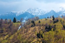 Free Spring Landscape With Mountains And Green Trees Royalty Free Stock Photography - 19673387