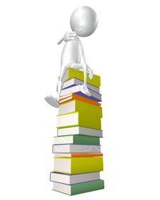 Free Man Sitting On Stack Of Books Stock Photo - 19674440
