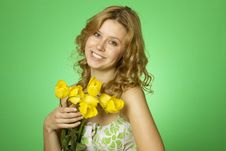 Happy Young Woman Hugging Flower