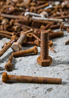 Free Old Rustic Screws Stock Photography - 19675272