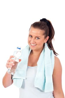 Free Young Woman Drinking Water Royalty Free Stock Image - 19676686