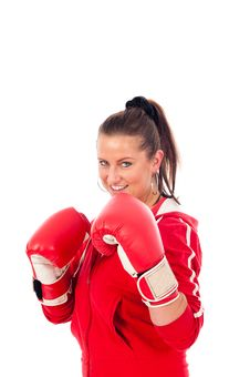 Free Young Woman Boxing Royalty Free Stock Photography - 19676697