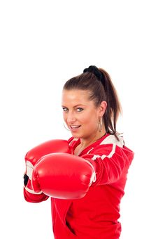 Free Young Woman Boxing Stock Photography - 19676702