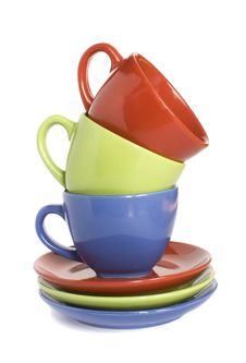 Free Colour Cups And Soucers Stock Photography - 19676712