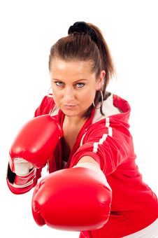 Free Young Woman Boxing Royalty Free Stock Photo - 19676715