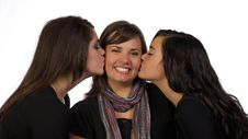 Young Adults Sister S Kiss Royalty Free Stock Images