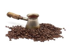 Free Old Copper Coffee Pot With Coffee Beans Stock Photography - 19677132